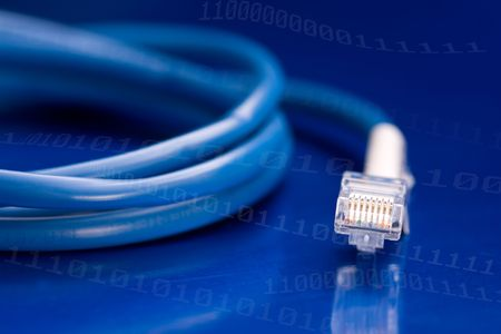 Network Cable isolated on a blue background with binary bits