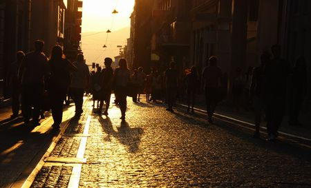 Silhouette of people at Ermous street in Athens