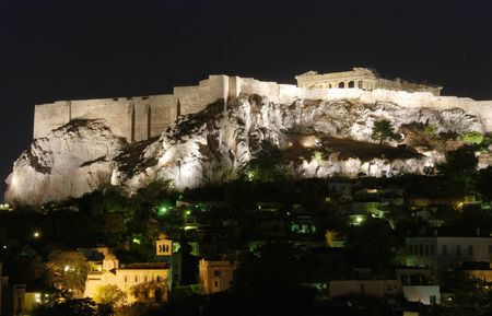 Athens Cityscape during night with acropolis hill at the back