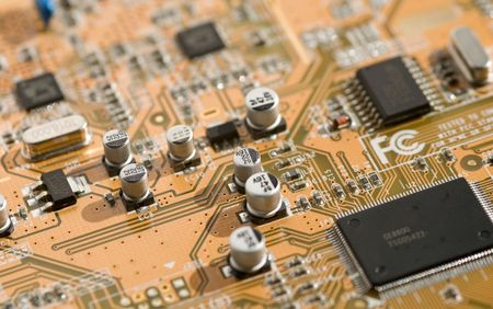 View of computer board with components and selective depth of field.
