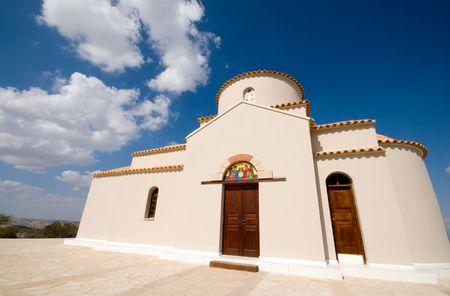 tsampika: Orthodox church of Panagia  (St Mary) Tsampika in Cyprus taken with a wide angle lense.