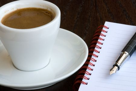 Cyprus coffe and  spiral notebook with a point pen. Stock Photo - 3798685