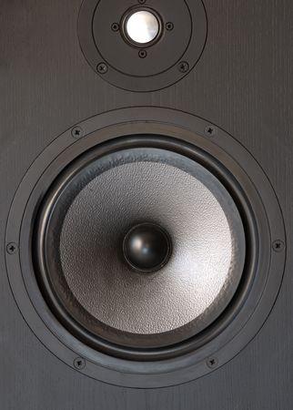 tweeter: Black music loudspeaker with woofer and tweeter.