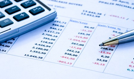 Financial report with a blue cast