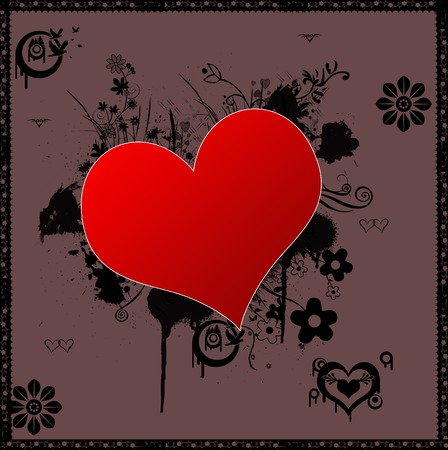 Red Heart shape on a nice simple background. photo