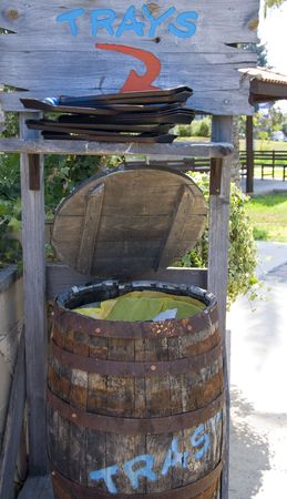 wastebasket: Wooden wastebasket. Stock Photo