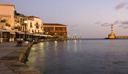 Chania old town port early int the morning with the lighthouse