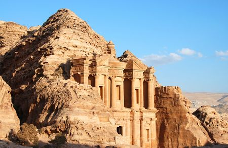 of petra: The monastery at Petra in Jordan