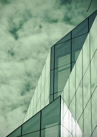 Modern glass building  exterior with added split-tone effect. Stock Photo - 6120555