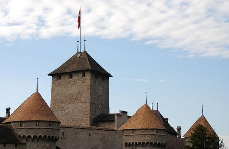 Towers of Chillon castle at Montreux in Switzerland Stock Photo - 6120551