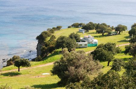 Akamas oeninsula camping place in Paphos area, Cyprus Stock Photo