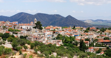 touristic: Panoramic view of Lefkara famous touristic village in Cyprus Stock Photo