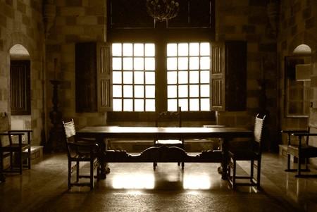 castle interior: Castle  living room in sepia color. Grain added on purpose.
