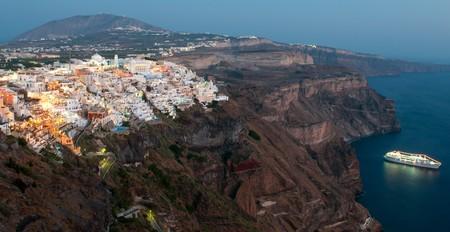 Cityscape of Fira town in Santorini island, Greece Stock Photo
