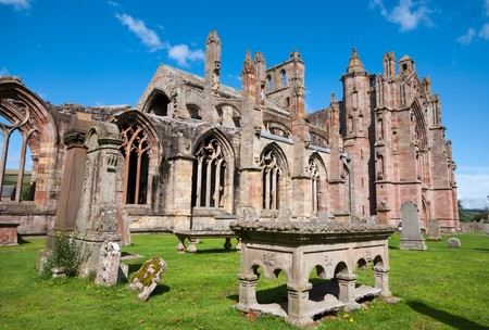 Melrose Abbey monument in Scotland.