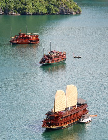 Cruise tourist boats at Halong bay in Vietnam. photo