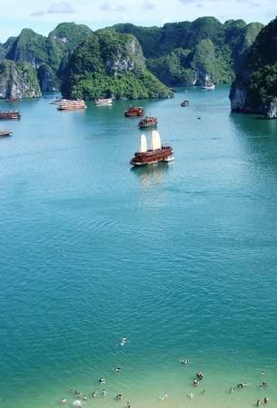 Cruise tourist boats at Halong bay in Vietnam.