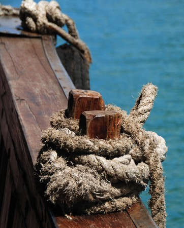 bonding rope: Tied knot on a sailing ship