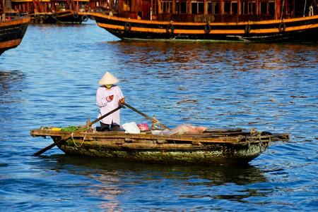 Vietnamesische Frau selling Gemüse und Obst für Touristen aus dem Holzboot Standard-Bild - 8138024