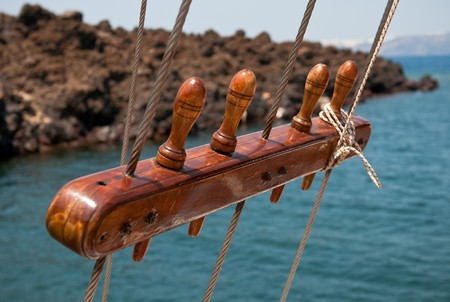 arma: Wooden sail ship rigging with selective focus