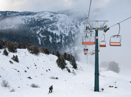 ski lift: Ski  lift resort at Troodos Mountains in Cyprus