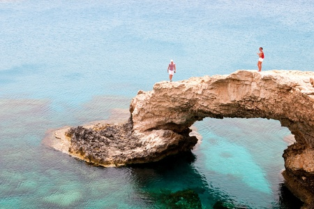 Agia Napa, Larnaka Cyprus, May  17, 2011: People standing above Sea caves near Ayia Nape, Cape Greco area in Cyprus