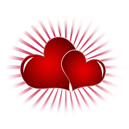 Two red heart isolated on a white background . Symbol of Love, useful for Saint Valentine photo