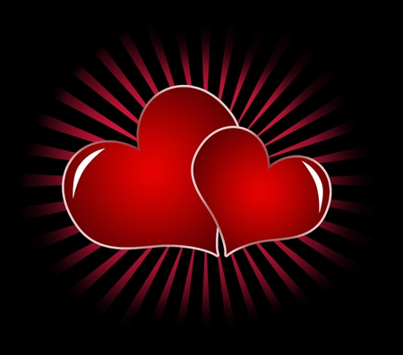 two red heart isolated on a black background . symbol of love, useful for saint valentine photo