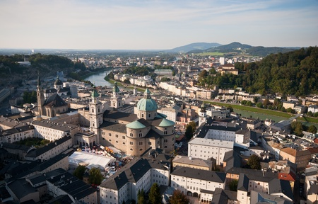 Cityscape of famous Salzburg tourist resort in Austria Stock Photo