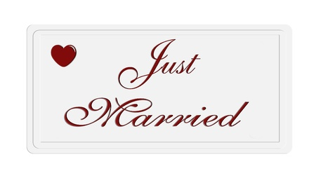 Just married sentence on a white  plate photo