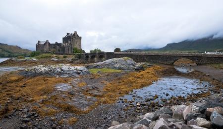 highland region: Famous Eilean Donan castle on Donan island in highlands of Scotland  Stock Photo