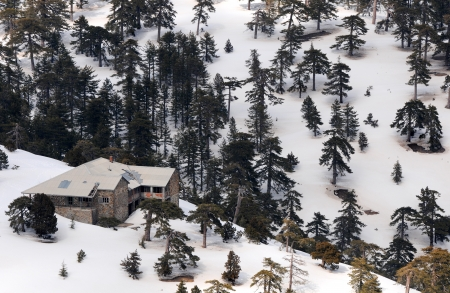 Idyllic mountain chalet and landscape at Troodos mountains in Cyprus during winter