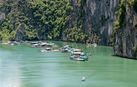 Floating village in Halong Bay, Vietnam, Asia photo