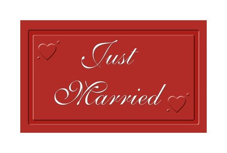 Just married message on a red sign photo