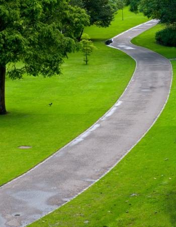 pedestrian walkway: Empty park Pedestrian Walkway with green grass and trees  Princess gardens, Edinburgh, Scotland