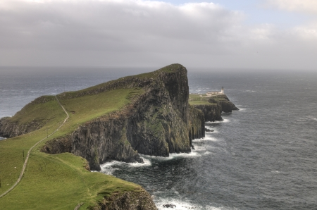 Neist Point lighthouse in Isle of Skye in  Scotland, UK Stock Photo - 15629006