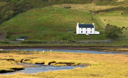 Typical Idyllic Scottish  farmhouse and river  in Isle of sky, Scotland UK