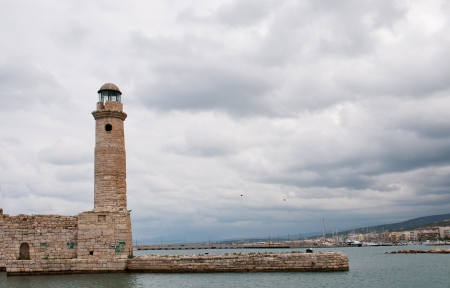 rethymno: Lighthouse in Rethymno town of Crete Island in Greece