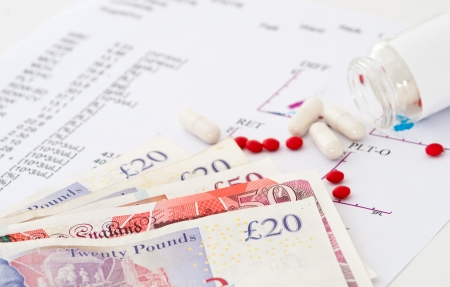 Medical report with test results, pills and money  Concept for expensive healthcare   photo