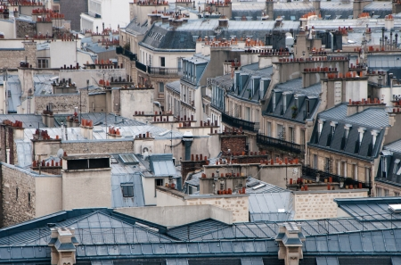 attics: Buiding roofs with balconies and attics from Paris.