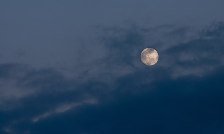 oncept: Beautiful moonlight with full spooky moon and blue clouds   oncept  of mystery and imagination Stock Photo