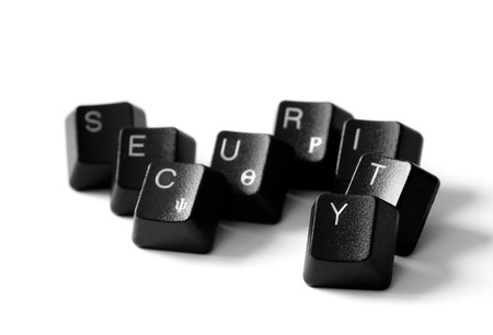 Security word with keyboard letters isolate on white background  photo