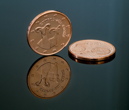 kibris: Details of a five cent  Euro coin from  Cyprus