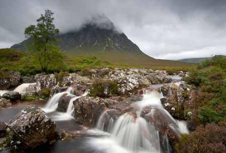 Landscape from  Glencoe area in Scotland, Scottish highlands.  The mountain is the famous Buachaille Etive Mor.