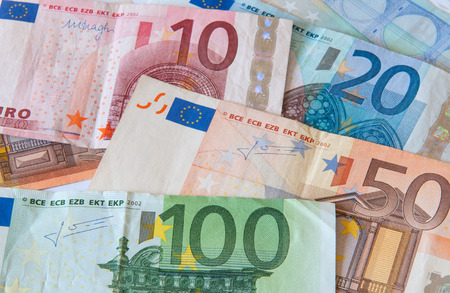 eurozone: Various Euro banknotes  Concept of savings, Eurozone economy crisis and power of cash