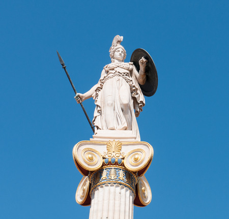 greece granite: Athena God statue, symbol of wisdom. Athens Greece. Stock Photo