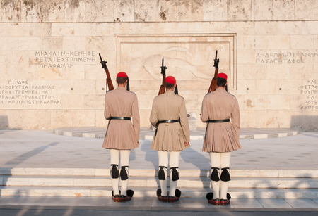 evzones guard: Changing of the Guard: Evzones in front of the Tomb of the Unknown Soldier.