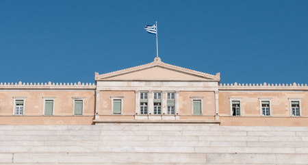 Greek Parliament Building from Syntgagma square in Athens, Greece.