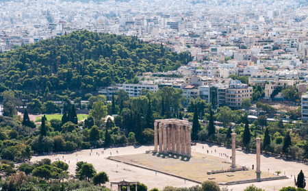 olympian: Famous Temple of Olympian Zeus and Athens cityscape,  from the Acropolis Hill in  Greece.