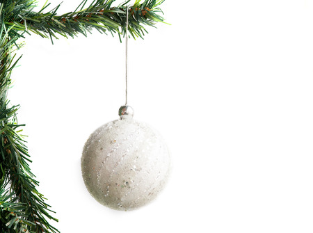 d cor: Christmas tree with white  decoration ball isolated on white.